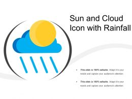 Sun And Cloud Icon With Rainfall