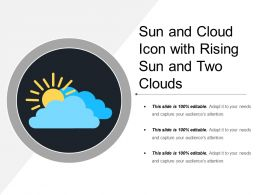 Sun And Cloud Icon With Rising Sun And Two Clouds