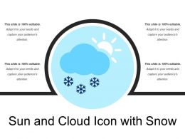 Sun And Cloud Icon With Snow