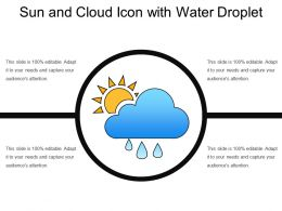 Sun And Cloud Icon With Water Droplet