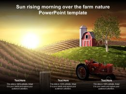 Sun Rising Morning Over The Farm Nature Powerpoint Template