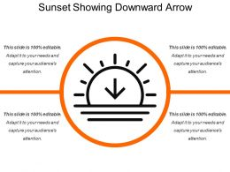 Sunset Showing Downward Arrow