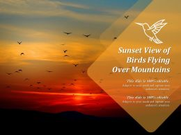 Sunset View Of Birds Flying Over Mountains
