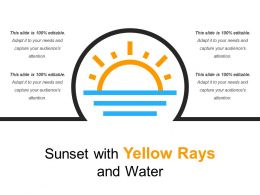 Sunset With Yellow Rays And Water