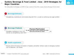 Suntory Beverage And Food Limited Asia 2019 Strategies For Major Countries