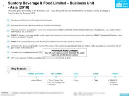 Suntory Beverage And Food Limited Business Unit Asia 2018