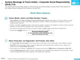 Suntory Beverage And Food Limited Corporate Social Responsibility 2018