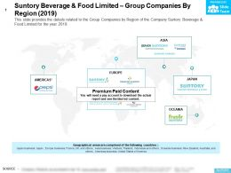 Suntory Beverage And Food Limited Group Companies By Region 2019