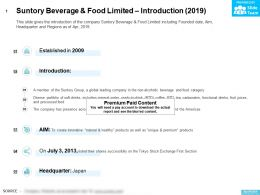 Suntory Beverage And Food Limited Introduction 2019