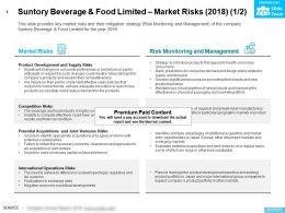 Suntory Beverage And Food Limited Market Risks 2018