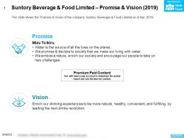 Suntory Beverage And Food Limited Promise And Vision 2019