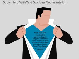 Super Hero With Text Box Idea Representation Flat Powerpoint Design