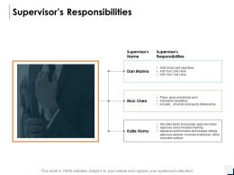 Supervisors Responsibilities Management Ppt Powerpoint Presentation Icon Graphics Pictures
