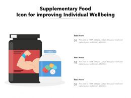 Supplementary Food Icon For Improving Individual Wellbeing