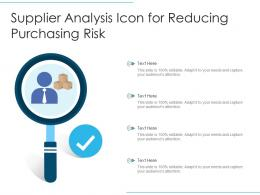 Supplier Analysis Icon For Reducing Purchasing Risk