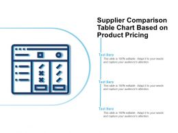 Supplier Comparison Table Chart Based On Product Pricing
