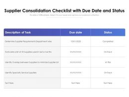 Supplier Consolidation Checklist With Due Date And Status