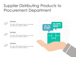 Supplier Distributing Products To Procurement Department