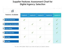 Supplier Features Assessment Chart For Digital Agency Selection