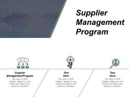Supplier Management Program Ppt Powerpoint Presentation Gallery Introduction Cpb