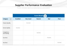 Supplier Performance Evaluation