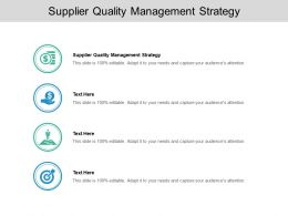 Supplier Quality Management Strategy Ppt Powerpoint Presentation Slides Cpb