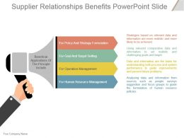 Supplier Relationships Benefits Powerpoint Slide