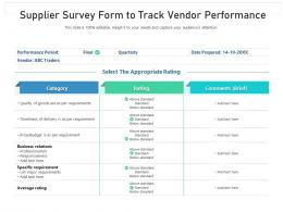 Supplier Survey Form To Track Vendor Performance