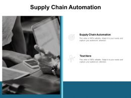 Supply Chain Automation Ppt Powerpoint Presentation File Ideas Cpb