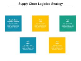 Supply Chain Logistics Strategy Ppt Powerpoint Presentation Infographics Good Cpb