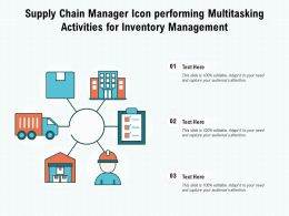 Supply Chain Manager Icon Performing Multitasking Activities For Inventory Management