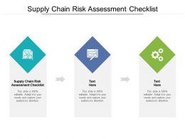 Supply Chain Risk Assessment Checklist Ppt Powerpoint Presentation Portfolio Deck Cpb