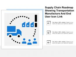 Supply Chain Roadmap Showing Transportation Manufacture And End User Icon Link