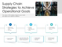 Supply Chain Strategies To Achieve Operational Goals