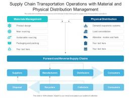 Supply Chain Transportation Operations With Material And Physical Distribution Management