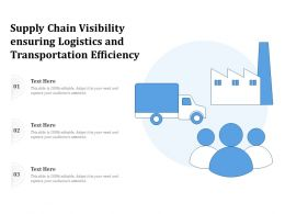 Supply Chain Visibility Ensuring Logistics And Transportation Efficiency