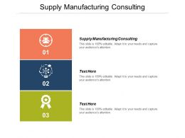 Supply Manufacturing Consulting Ppt Powerpoint Presentation Ideas Background Designs Cpb