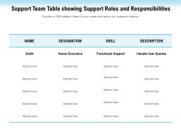 Support Team Table Showing Support Roles And Responsibilities