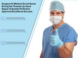 Surgeon Or Medical Scrub Nurse Giving Thumbs Up Hand Signal Of Quality Perfection Approval Excellence Success