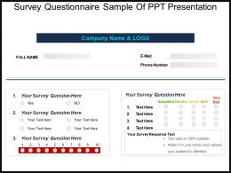 Survey Questionnaire Sample Of PPT Presentation