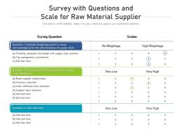 Survey With Questions And Scale For Raw Material Supplier