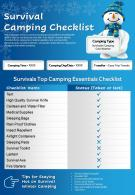 Survival Camping Checklist Presentation Report Infographic PPT PDF Document