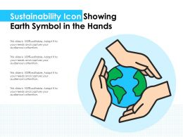 Sustainability Icon Showing Earth Symbol In The Hands