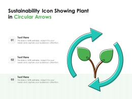Sustainability Icon Showing Plant In Circular Arrows