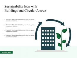 Sustainability Icon With Buildings And Circular Arrows
