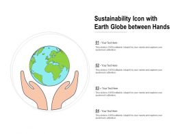 Sustainability Icon With Earth Globe Between Hands