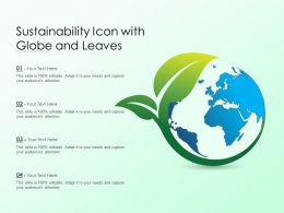 Sustainability Icon With Globe And Leaves