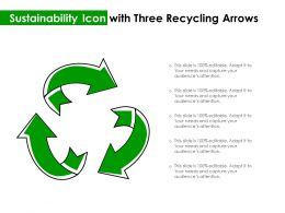 Sustainability Icon With Three Recycling Arrows