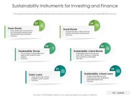 Sustainability Instruments For Investing And Finance