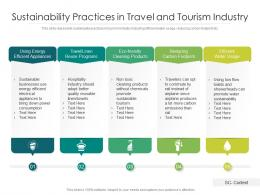 Sustainability Practices In Travel And Tourism Industry